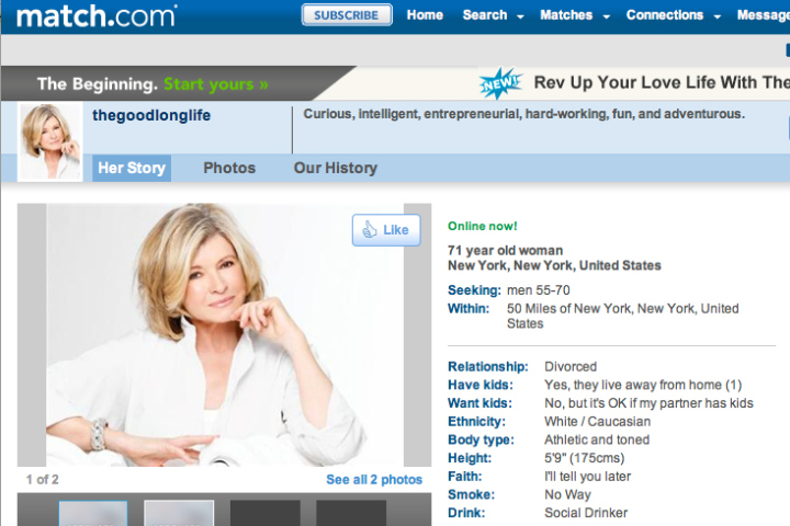Martha stewart 39 s online dating profile a critique for Dating site description template